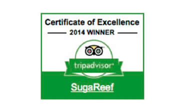 Sugareef bar and restaurant has been awarded the Certicate of Excellence for 2014 by tripadvisor