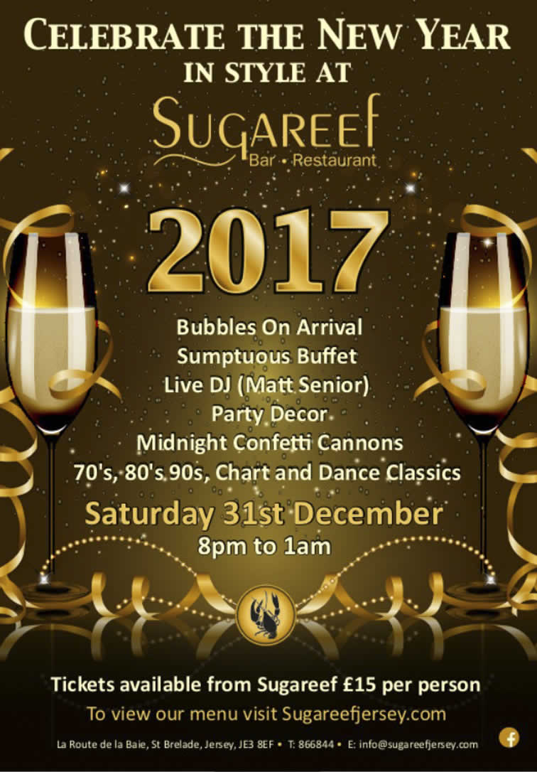New Years Eve 2016 at Sugareef bar and restaurant Jersey