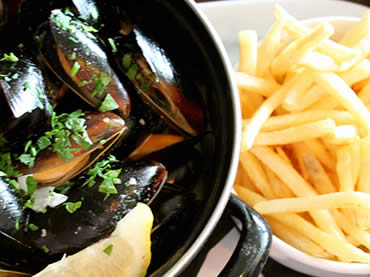 Moules & frites dish at Sugareef Restaurant St Brelades Jersey