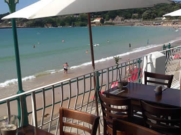 View of St Brelades beach from Sugareef Restaurant