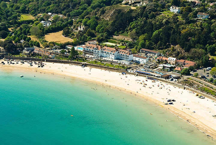 Aerial view of St Brelades Beach Jersey