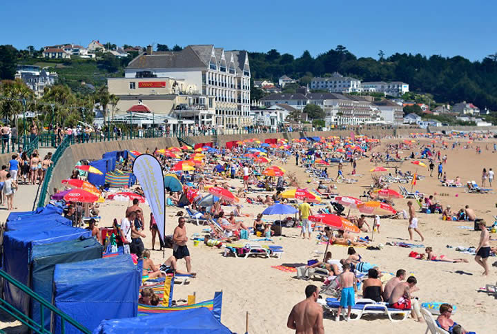 St Brelade bay beach by Sugareef Restaurant Jersey