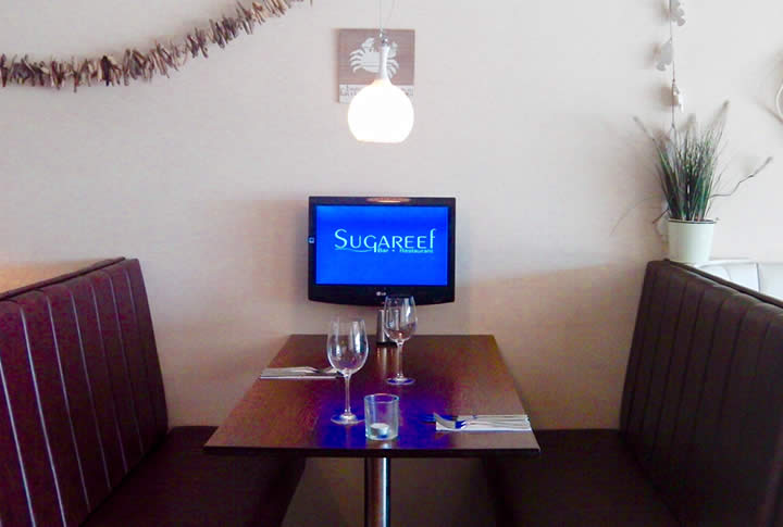 The Private booths dining area at Sugareef restaurant Jersey