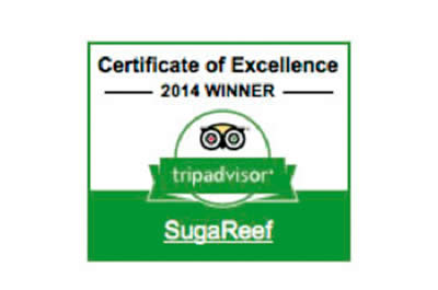Certificate of Excellence award to Sugareef from tripadvisor 2014