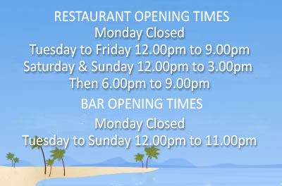 Opening hours of Sugareef Bar and Restaurant Jersey from May 7th 2019. BAR Opening Hours Monday Closed, Tuesday to Sunday 12.00pm to 11.00pm. RESTAURANT Opening Hours, Monday Closed, Tuesday to Friday 12.00pm to 9.00pm, Saturday & Sunday 12.00pm to 3.00pm Then 6.00pm to 9.00pm