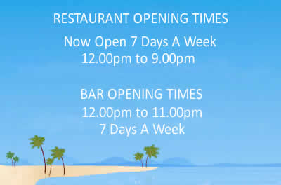 Opening hours of Sugareef bar and restaurant Jersey from April 2017 BAR Now Open seven days a week 12.00pm to 11.00pm. RESTAURANT Now Open seven days a week 12.00pm to 9.00pm